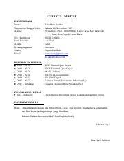 Cv Docx Curriculum Vitae Data Pribadi Nama Tempat Dan