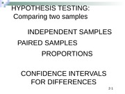 BCOR 1020 Chapter 10 Two Sample Hypothesis Tests with CQ and answers