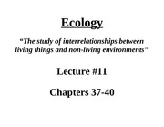 Lectures  12 - Ecology
