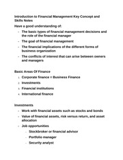 Introduction to Financial Management Key Concept and Skills Notes