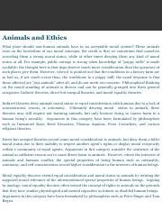 Animals and Ethics