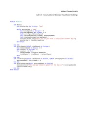 Lab 8.3 Accumulation and Loops Visual Basic Challenge