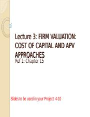 Lecture 3 - Firm valuation - Cost of Capital and APV approach