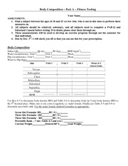 fitness testing sheets