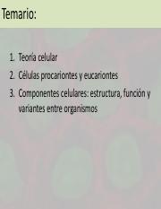 Teoría Celular Pdf Temario 1 Teoría Celular 2 Células