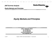 Equity Markets and Principles