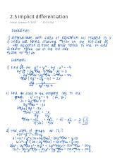2.5 implicit differentiation