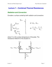 Lecture 7 Combined Thermal Resistances