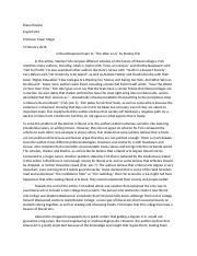 "Critical Response Paper to ""The Woe is Us"" by Stanley Fish"
