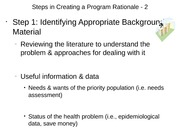 Steps in Creating a Program Rationale - 2