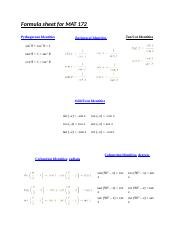 Formula sheet for MAT 172