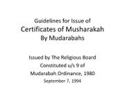 Guidelines for Issue of Certificates of Musharakah