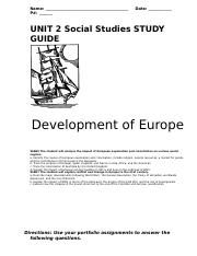 Unit 2 Study Guide (Development of Europe)- only