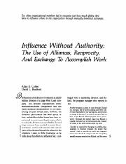 Reading #2. (Infulence without authority)