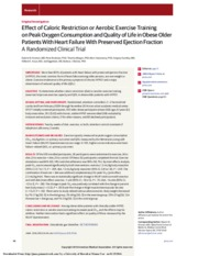 Effect of Caloric Restriction or Aerobic Exercise Training on Peak Oxygen Comsumption and Quality of