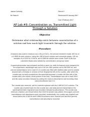 AP Chemistry Lab #9: Concentration vs. Transmitted Light Through a Solution.docx