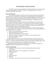 Scientific Inquiry Project Instructions Fall 2014
