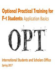 OPT Workshop - Spring 2017