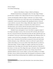 anthropology fieldwork essay