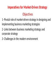 Imperatives for Market-Driven Strategy my part