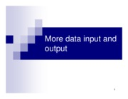 Chapter 9. More data input and output