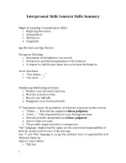 Interpersonal skills summary..final study guide