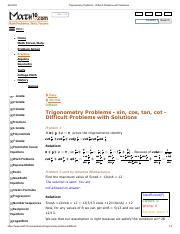 Trigonometry Problems - DIFFICULT Problems with Solutions.pdf