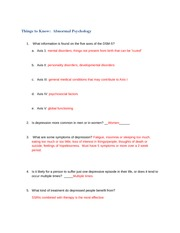 answers to Things to Know Abnormal Psychology