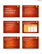 Topic 6 Taxation of Individual Taxpayers PowerPoint