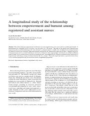 A longitudinal study of the relationship between empowerment