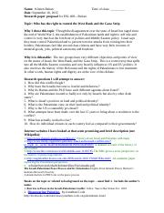 408 Research paper proposal 2015  controversial topic sample Israel Palestine