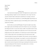 Final Reflective Essay English 180
