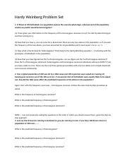 Hardy Weinberg Problem Set - Hardy Weinberg Problem Set 1 ...