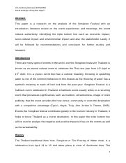 Festivals and Events Major Analytical Paper