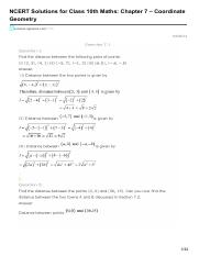 Maths Chapter 7  Coordinate Geometry