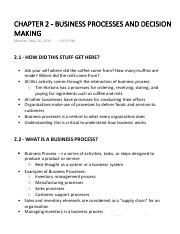 CHAPTER 2 - BUSINESS PROCESSES AND DECISION MAKING