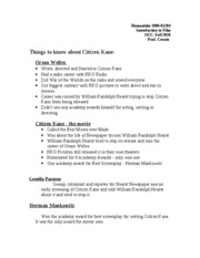Humanities 1900 Citizen Kane Study Guide