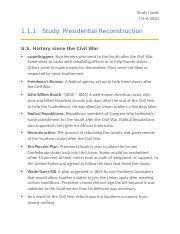 UNIT 1- POST-CIVIL WAR AMERICA.docx - Study Guide 7\/6-9 ...