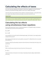 Calculating the effects of taxes