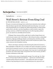 Wall Street's Retreat From King Coal - The New York Times
