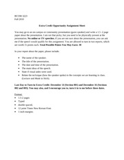 BCOM 3223- Extra Credit Assignment Sheet