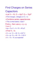 Find Charges on Series Capacitors