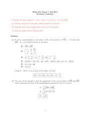 Exam 1 Solution on Calculus III Fall 2011