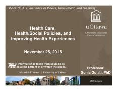 LECTURE 11 - Health Care and Improving Health Experiences