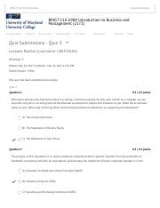 Quiz Submissions - Quiz 3 - BMGT 110 6984 Introduction to Business and Management (2172) - UMUC Lear