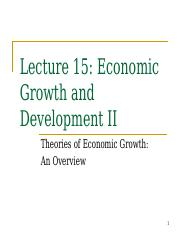 Lecture 15 - Economic Growth II
