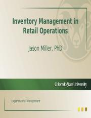 Inventory Management in Retail Operations