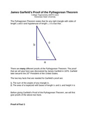 Jan 8 - James Garfields Proof of the Pythagorean Theorem