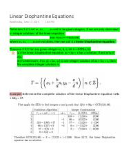 Linear Diophantine Equations