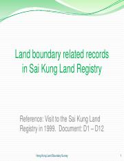 6 Land Boundary related records in Sai Kung Land Registry